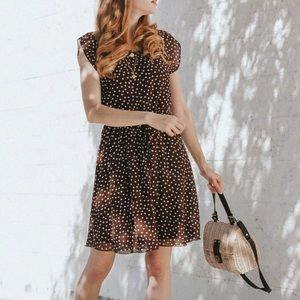 Tacera Brown Polka-Dot Blousy Cap Sleeve Dress M